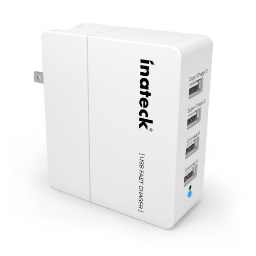Inateck 4-Port 30W Compact USB Wall Charger (5V 2.4A x 2 & 5V 1A x 2) USB Portable Charger All-In-One Travel Charger for iPhone, Kindle, iPad, iPod, Smartphones, 5V Tablets, Bluetooth Speakers and Other USB-Powered Devices