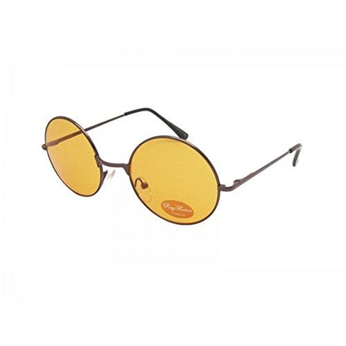 Lennon teintées Lunettes Ponton John unisexe long arancione rondes soleil 400UV lunettes marrone de hippie a6anf