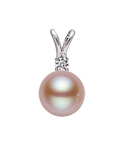 14k White Gold AAAA Quality Pink Freshwater Cultured Pearl Diamond Pendant (8.5-9mm) (Fw Pearl Necklace Pendant)