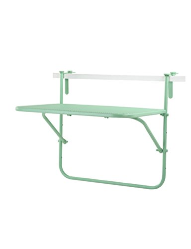 HAIPENG Creative Simple Casual Tables Metal Iron Mesh Balcony Hanging Wall Hanging Folding Table Study Tables (3 Colors Optional) (Color : Green, Size : LWH: 735364cm) (Square Tables Nesting Iron)