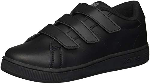 K-Swiss Unisex Clean Court 3-Strap Sneaker, Black/Charcoal, 11.5 M US Little Kid
