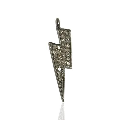 (Pave Diamond Pendant, Pave Lighting Bolt Pendant,Diamond Lighting Bolt Charm,0.90''(8 x 22 mm))