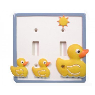 Just Ducky Double Light Switch Plate   Yellow Rubber Duck Bathroom Decor