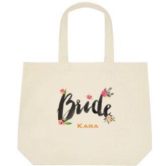 Heartfelt Hospitality Floral ''Bride'' Brush Font Canvas Wedding Bride Tote Bag (PERSONALIZED)