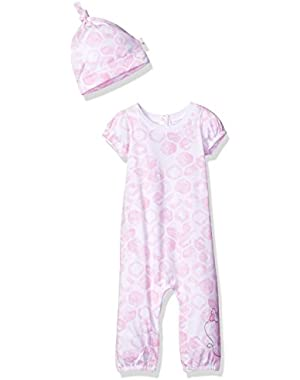 Baby Girls' Organic Short Sleeve Footless Coverall and Hat