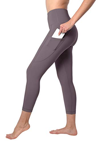 90 Degree By Reflex Squat Proof Side Phone Pocket Yoga Capris - High Waist Cropped Leggings - Grey Mauve - Large