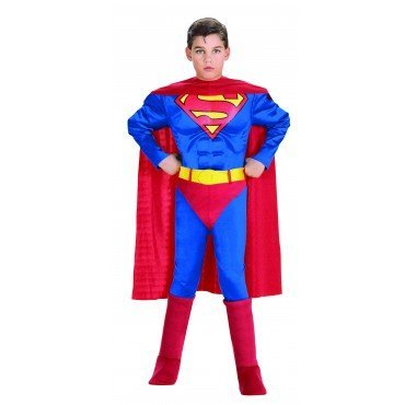 Super DC Heroes Deluxe Muscle Chest Superman Costume Small Size Halloween