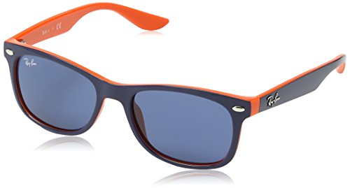 Ray-Ban Kids' New Wayfarer Junior Square Sunglasses, Top Blue on Orange 178/80, - Ray Ban Sunglasses Youth