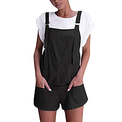 Celmia Women's Overalls Shorts Sleeveless Casual Jumpsuit Rompers with Pockets: Clothing