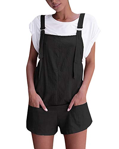 - Celmia Women's Overalls Shorts Sleeveless Casual Jumpsuit Rompers with Pockets A-Black M