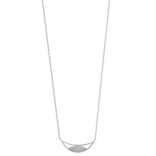 Collier en Argent 925/000 Rhodié et Oxyde de Zirconium - Forme Lune - Arrondi