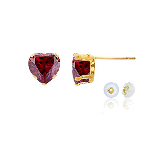 Genuine 10K Solid Yellow Gold 5x5mm Heart Created Red Ruby July Birthstone Stud Earrings ()