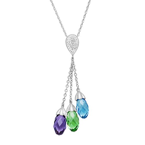 (Crystaluxe Lariat Pendant Necklace with Swarovski Crystals in Sterling Silver)