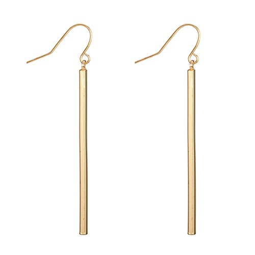 Dcfywl731 Punk Simple Style Gold/Silver Plated Lightning Long Exaggerated Square Geometric Stick Drop Dangle Earring for Women Jewelry - Gold Stick Earrings