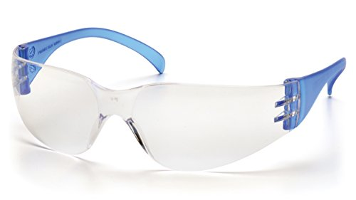(Pyramex Safety Intruder Eyewear, Blue Temples, Clear Lens)
