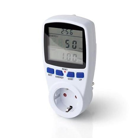 Controlador de consumo Power Meter. Medidor Contador Controlador Enchufe Consumo Electricidad LCD 45-65HZ AC 230V-250V: Amazon.es: Electrónica
