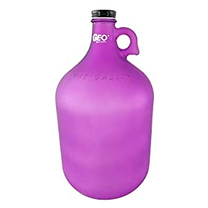 1 Gallon Glass Jug Reusable Water Bottle Jug BPA Free With Cap and Finger Holder - Purple - Dark Colors Are Best For Alkaline Water Storage