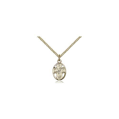 DiamondJewelryNY Religious Medal, 14kt Gold Filled 5-Way Pendant ()