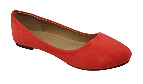 Bella Marie Stacy-100 Women's Round Toe Suede Leather Slip on Boat Ballet Flat Shoes Coral 9