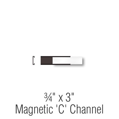 SmartSign Magnetic 'C' Channel Label Holders for Metal Racks and Shelves | 0.75'' x 3'' Pack of 25 by SmartSign