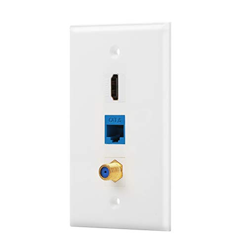 IBL- 3 Port Wall Plate with Coaxial TV Cable F Type + Cat6 Ethernet + HDMI Keystone Female to Female Jack in - F-type Snap
