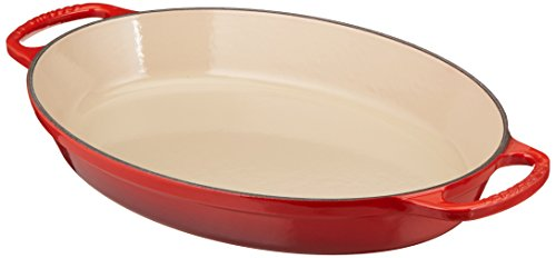 Le Creuset Enamel Cast Iron Signature Oval Baker, 2.25 quart, Cerise (Cherry Red) by Le Creuset