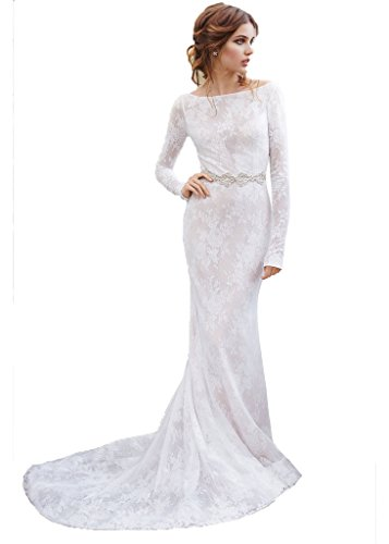 Kelaixiang Long Lace Mermiad Wedding Evening Dress Long Sleeves Open Back White US 26W ()