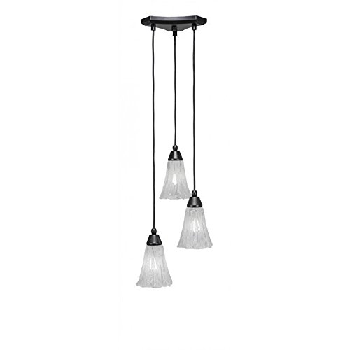Toltec Lighting 28-MB-729 Europa 3 Multi-Light Mini Pendant with Fluted Italian Ice Glass, 5.5