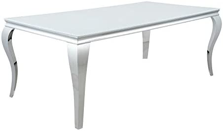 Coaster Home Furnishings Carone Rectangular Glass Top White and Chrome Dining Table