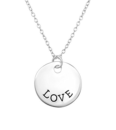 Disc Silver Love (.925 Sterling Silver Love Disc Pendant Necklace for Girls)