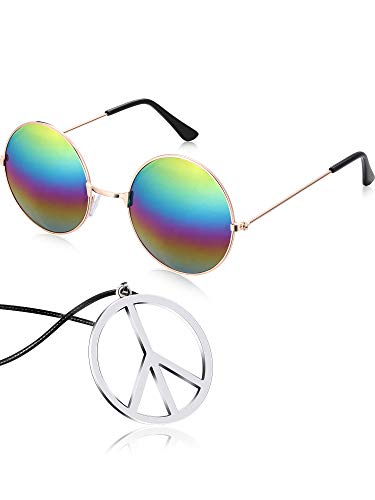 (Tatuo Hippie Dressing Accessory Set Hippie Glasses and Peace Sign Necklace (Rainbow))