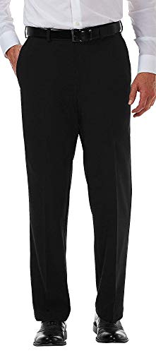 Haggar Men's Cool 18 PRO Classic Fit Flat Front Expandable Waist Pant, Black, 36Wx32L