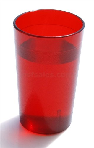 New Star Foodservice 46403 Tumbler Beverage Cup, Stackable Cups, Break-Resistant Commercial Plastic, 16 oz, Red, Set of ()