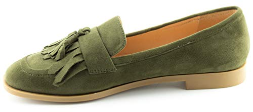 Fringe Shoes Women's CALICO Comfort Flats Tassel Loafer Accents su Green KIKI Flat fXqUwYq