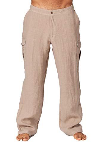 Mariyaab Men's Casual 100% Linen Pants with Side Cargo Pockets and Elastic Waist(9508, VintageKhaki, ()