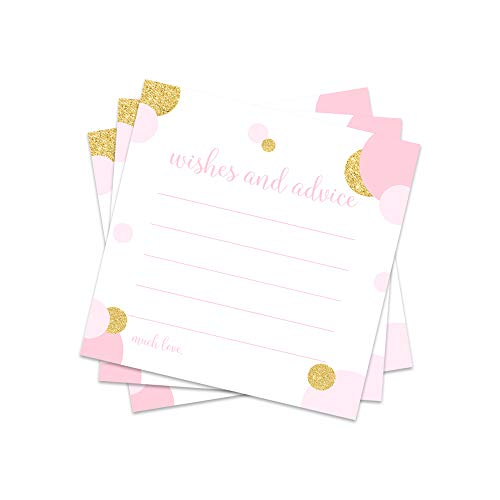 Blush and Gold Advice and Wishes Cards - Set of 25