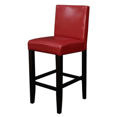 Monsoon Pacific Villa Faux Leather Counter Stool, Red, Set of 2 (26 Inch Stationary Bar Stool)