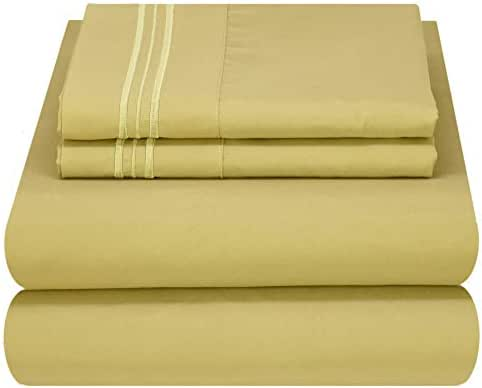 Mezzati Soft and Comfortable Waterbed Sheets Set – 1800 Prestige Brushed Microfiber Collection Bedding (Sage Green, King Unattached)