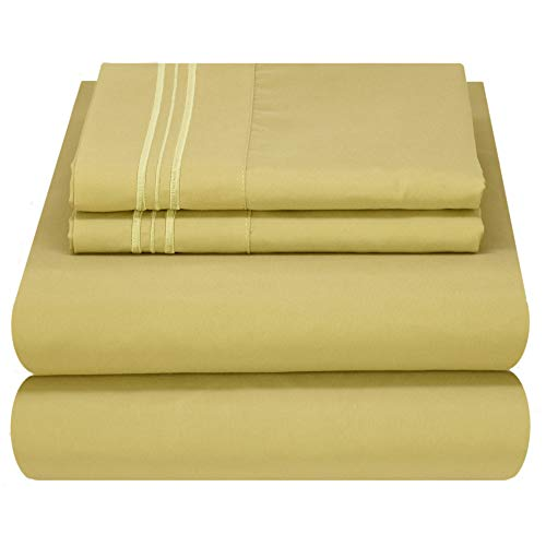 Mezzati Luxury Bed Sheet Set - Soft and Comfortable 1800 Prestige Collection - Brushed Microfiber Bedding (Green, Queen Size)