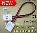 Gimax 200pcs/lot (NO: C1) 8mm 2pin for 3528 single color strip, free soldering with wire double connector, LED connector