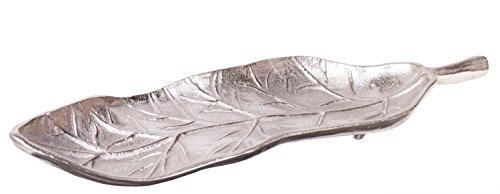 Silver Leaf Decorative Aluminum Tray Dish, 18 (Silver Leaf Tray)