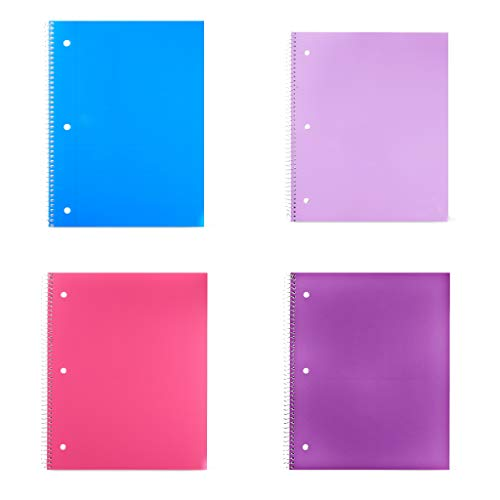 """Pen + Gear 4- Pack Poly Composition Notebook Pack Writing Journal - College Ruled, 11"""" x 9"""", Single Subject-100 Sheet- Purple, Teal, Pink"""