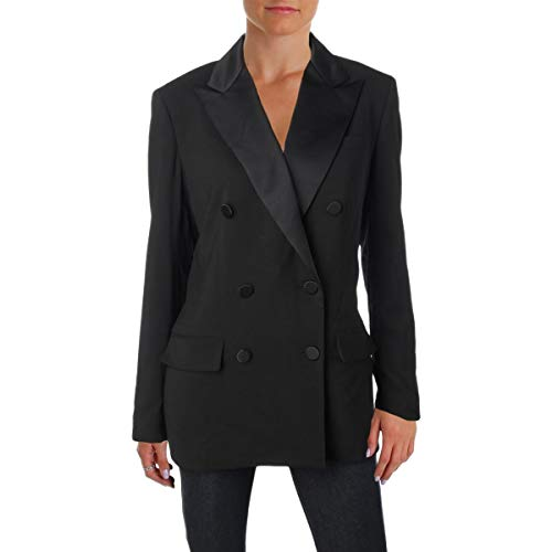 (LAUREN RALPH LAUREN Womens Ryen Wool Double-Breasted Suit Jacket Black 8)