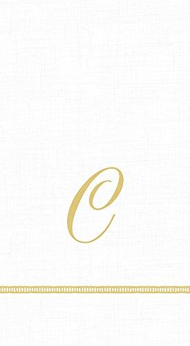 (Caspari 3-Ply Paper Hemstitch Script White Monogram, 15 Count Guest Towel Napkins Letter C)