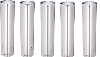 San Jamar C3250 Stainless Steel Large Pull Type Water Cup Dispenser, Fits 4-1/2oz to 7oz Cone and 6oz to 12oz Flat Cup Size, 2-3/4