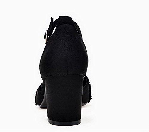 Unie AgooLar GMBLB014473 à Femme Talon Couleur Sandales Noir Boucle Correct 661wxv