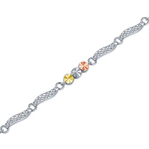 14carats 585or trois couleurs Wave et triple Dots Bracelet (16,5cm) Bijoux Cadeau pour femmes filles