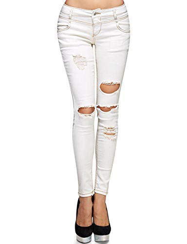 (Monkey Ride Jeans Women's Stretchy Straight Rippde Jeans Stitch Line Shaping Distressed Denim Pants 3, Cream)