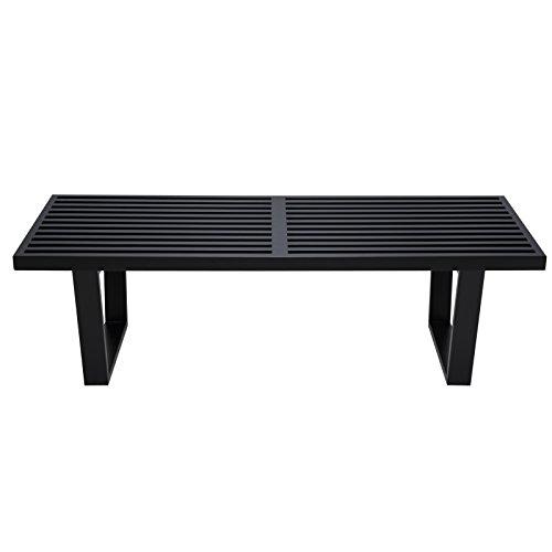 LeisureMod Mid-Century Modern Inwood Platform Wood Bench, 4', Black by LeisureMod (Image #2)