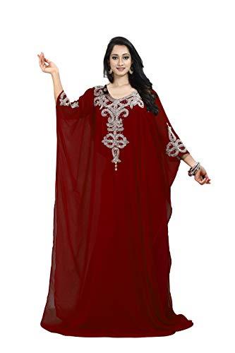 KoC Women's Kaftan Maxi Dress Farasha Caftan KFTN110-Maroon